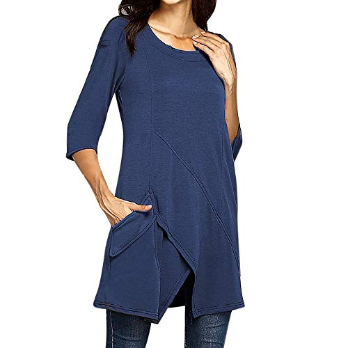 Dorical Damen Herbst Winter Pullover Plus Size O-Ausschnitt Langarm Solid Color Casual Mode mit Tasche Shirt Clearance