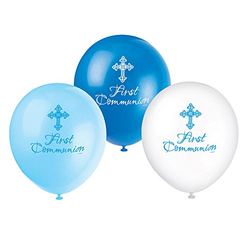 Unique Party Supplies 30,5 cm Latex strahlend Kreuz blau First Communion Luftballons, 8 Stück