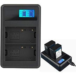 Topiky Portable EN-EL3E Chargeur de Batterie pour Appareil Photo Double Emplacement Port USB avec Chargement de l'écran à LED pour Appareil Photo