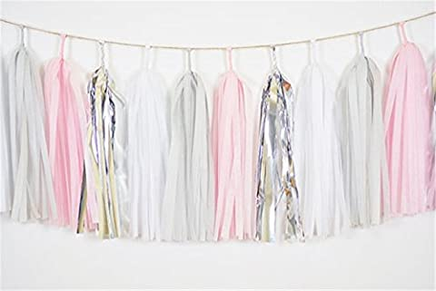 Tissue Garland 20pcs White Grey Baby Pink Silver Tissue Paper Tassels Bunting for Baby Shower, Bridal Shower, Birthday Party, Nursery Decoration Pom Poms
