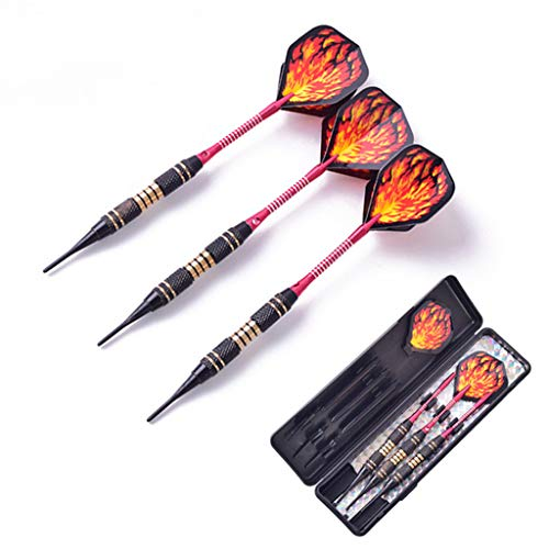 TRSMXYW Dartpfeile,Soft Mit Kunststoffspitze.Für Elektronische Dartscheibe Set.Indoor 18G 3 STK. Electronic Kunststoffkopf Electronic Soft Pointed Set Red Rod Red Flame -