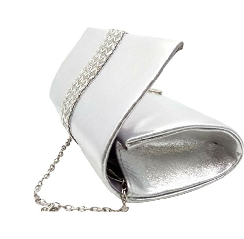 Borsa Diamante Evening Bag Diamante Bridal Delle Donne Silver