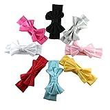 HABI 8 stk Stirnband mehrfarbig und blumenreich elastisch Haarband Fliege Schleife für Kinder Baby Mädchen, Color, One Size