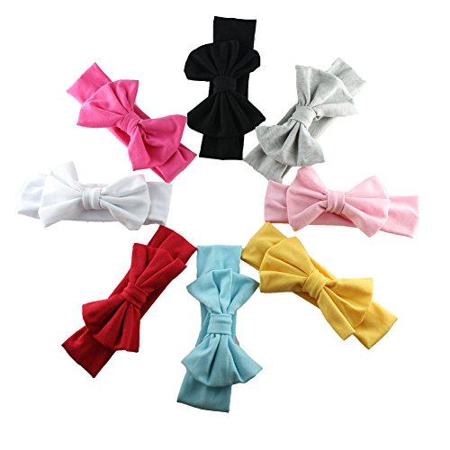 HABI 8 stk Stirnband mehrfarbig und blumenreich elastisch Haarband Fliege Schleife für Kinder Baby Mädchen, Color, One Size (Rot, Stirnband Weiß, Blau,)