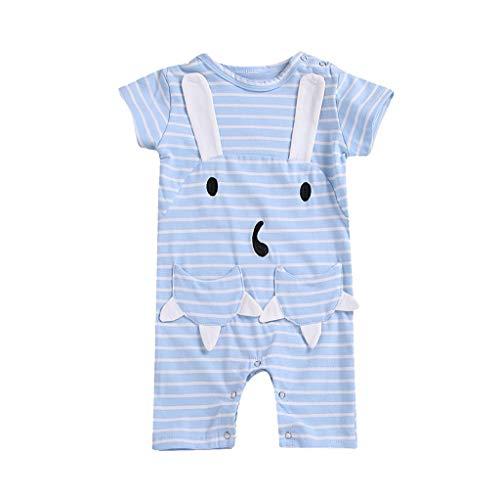 Julhold Kinder Kinder Baby Nette Beiläufige Kurze Ärmel Karikatur Streifen Kaninchen Tasche Lose Strampler Overall 0-4 Jahre