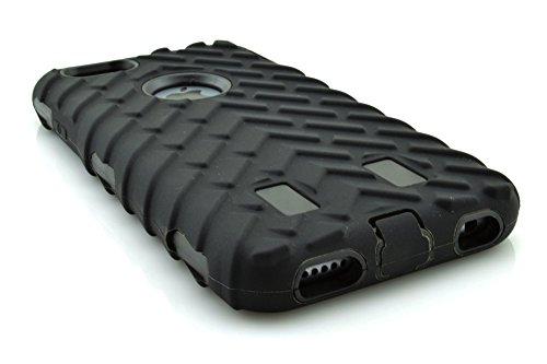 meaci (TM) Coque pour iPhone 611,9cm cas 3en 1Pneu à rayures Combo hybride Defender High Impact Corps ArmorBox Coque rigide en silicone et PC Pneu Coque de protection (Noir)