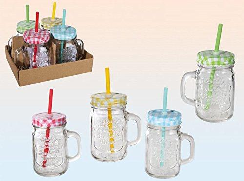 Trinkglas mit Henkel und farbigem Deckel mit Strohhalm Einmachglas Optik 400 ml 4 Stück