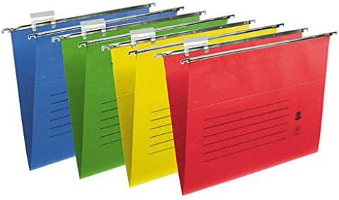 10 X  Foolscap Hanging Suspension Files With Tabs Inserts Large Folders Coloured
