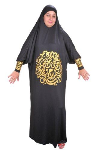 Isdal Abaya Gebetskleid mit arabischer Kalligrafie in goldfarbe Islamische Kleidung , schwarz (48-58...