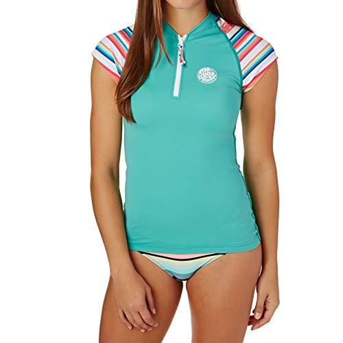 Sleeve Rash Shirt (RIP CURL Damen Rce Kappe Sleeve UVschnelle Dry Leichte Rash Vest Top Baltic Green - UV - Sonnenschutz und SPF - Eigenschaften)