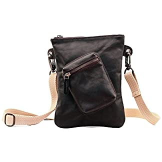 41Fw5HJHzlL. SS324  - LA POCHETTE DE PAUL INDUS' Bolso bandolera de piel (tamaño pequeño, estilo vintage), bolso por la cuidad, color marrón oscuro, PAUL MARIUS Vintage & Retro