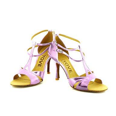 Scarpe da ballo-Personalizzabile-Da donna-Balli latino-americani / Salsa-Tacco su misura-Finta pelle-Nero / Blu / Rosso / Argento / Dorato Purple