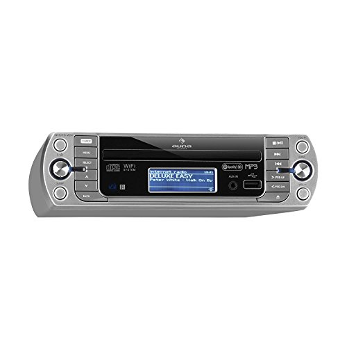 auna KR-500 CD Küchenradio • Unterbau-Radio • CD/MP3-Player • Internet/PLL FM • WiFi • AUX • USB • Spotify Connect • Network-Streaming • LCD-Display • Bedienung per App und Fernbedienung • silber
