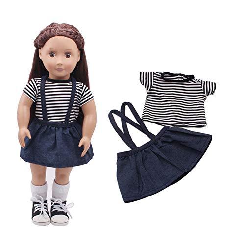 Global Brands Online Gestreiftes T-Shirt Rock Set für 18 '' American Girl Unsere Generation Reise Puppe Zubehör (Reise-set Unsere Generation-puppe,)