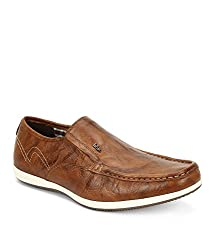 Lee Cooper Mens Tan Leather Loafers and Moccasins - 9 UK/India (43 EU)