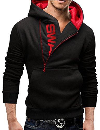 Bestgift Herren T-Shirt Kapuzenpullover Longsleeve Knopfleiste T-Shirt Schwarz+Rot XL