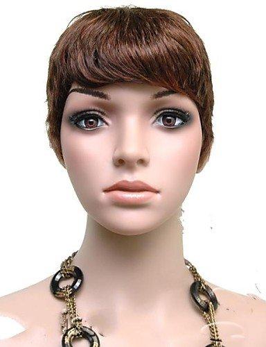 Perruque & xzl Perruques Fashion qualité supérieure bruns courts woman'fashion bouclés sombre cheveux synthétiques perruques freeshipping