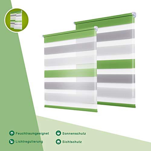 OUBO Doppelrollo Klemmfix ohne Bohren 50 x 150 cm (B x H) Grün-Grau-Weiß Fenster Duo Rollo