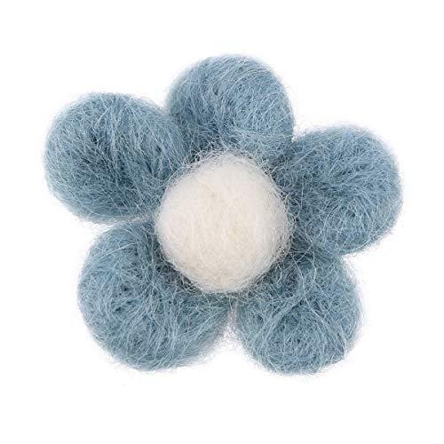 Healifty 6 stücke Wollfilz Blumen DIY Filz Blumen Stoff Blume Verzierungen für DIY Handwerk Nähen Stirnbänder Baby Mädchen Haar Blume (Blau) (Stirnbänder Mädchen Handwerk)