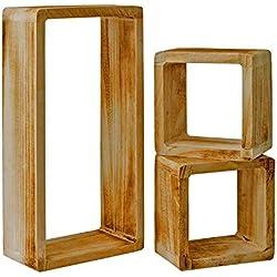 Rebecca Mobili Set 3 Etageres Vintage, Bibliotheque Suspendue, 1 Rectangle 2 Cubes, Bois Clair, pour Chambre Salon - Dimensions: 41 x 21 x 9 cm (HxLxL) - Art. RE4121