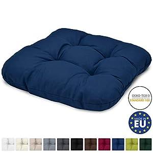 Beautissu Stuhlkissen 40x40 cm Lisa - Bequemes 8cm Kissen für Stuhl & Bank - Gepolstertes Sitzkissen Stuhl für Ihre Esszimmer Stühle und Bänke - Sitzpolster in Blau