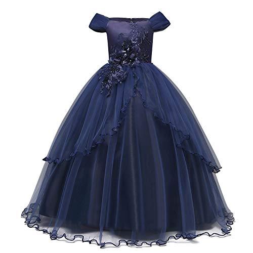 NNJXD Filles Applique De Bal Robes Hors Épaule De Mariage Fête d'anniversaire Princesse Robes Longues Taille (130) 7-8 Ans Bleu foncé