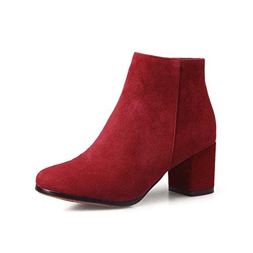 corto para otoño/invierno boots/Europa y las botas desnudas cabeza redonda/ cargadores del alto talón cremallera-B Longitud del