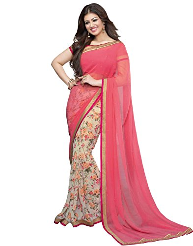SUNSHINE Light Pink & White Color Georgette With Fancy Border Saree( New Arrival Latest Best Design Beautiful Sarees Material Collection For Women and Girl Party wear Festival wear Special Function Events Wear In Low Price With Todays Special Offer with Fancy Designer Blouse and Bollywood Collection 2017 )