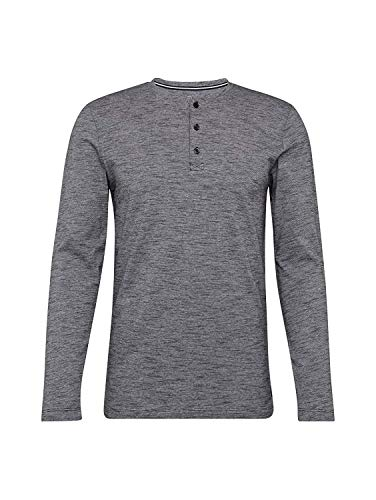 TOM TAILOR Denim T-Shirts/Tops Henley Langarmshirt mit Streifenmuster Yarn Dye Stripe Black, XXL -