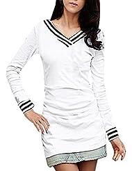 Mujer Cuello En V Camiseta De Manga Larga Rayas Detalle Entallado Camisetas - sintético, Blanco, 5% spandex 60% poliéster 35% algodón, Mujer, M (EU 40/UK 12)