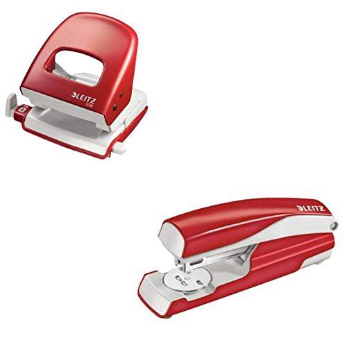 Leitz 5008 Bürolocher+ 5502 Heftgerät NeXXt Series, Metall, 30 Blatt Spar-Set (rot, Locher + Heftgerät)