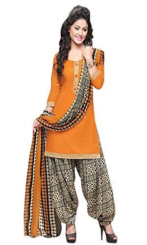 Generic Orange Colour Gleze Cotton Fabric Patiala Salwar Suit Dupatta Material. (Unstitched)