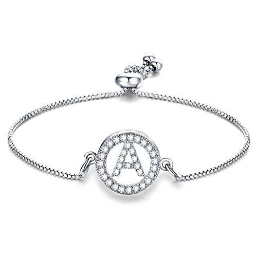 AnazoZ Schmuck 26 Buchstaben Damen Charm-Armband Armreif Hochzeit Zirkonia Verstellbare Länge Armbänder Frauen - M -