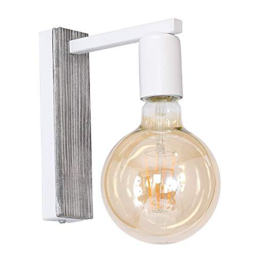Weiße Wandlampe Modern Holz Shabby Chic stilvoll JONAR Flur Schlafzimmer Wandleuchte