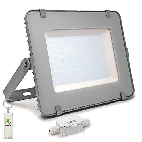 ZONE LED - 200W - LED Strahler, LED Fluter - Weisses Licht (6400K) - 16000 Lm - Entspricht 1000W - SAMSUNG Chips - Abstrahlwinkel 110° - Grauer Körper + IP65 Box mit Klemmenblock - inkl. LED Schlüsselanhänger