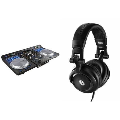Hercules 4780773 Universal DJ Controller mit 2 Decks und 3 Modi schwarz + Hercules 4780507 HDP DJ M40.1 DJ Kopfhörer