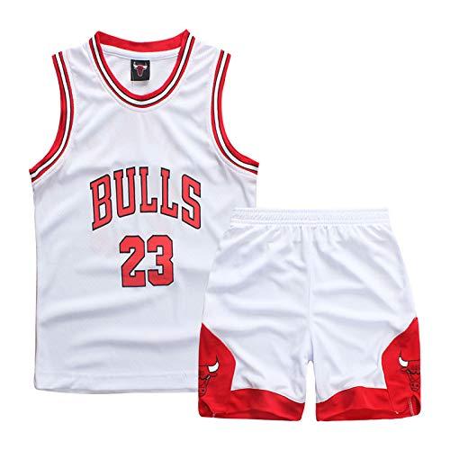 BO LU Kid Boy Basketball Jersey 2-teiliges Trägershirt Shorts Set Kleidung-Sommer Uniform,White 23-S