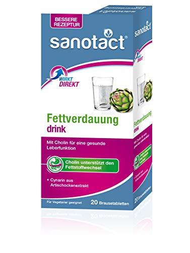 sanotact Fettverdauung drink Brausetabletten mit Cholin und Artischockenfruchtextrakt, Nachfolger Artischocke drink - vegetarisch, 20 Tabletten