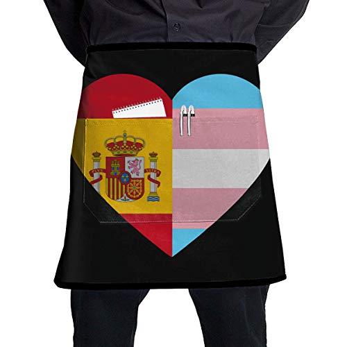 Spain Lady Of Kostüm - Baking Apron Spain Flag Transgender Pride Flag Heart Short Aprons Women/Men Chef Bar Sleeveless Anti-Fouling Overalls Aprons Portable Pocket Design