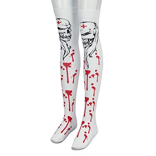 Berrose-1 Lady Halloween Muster Socken Paar Wind Oberschenkel -