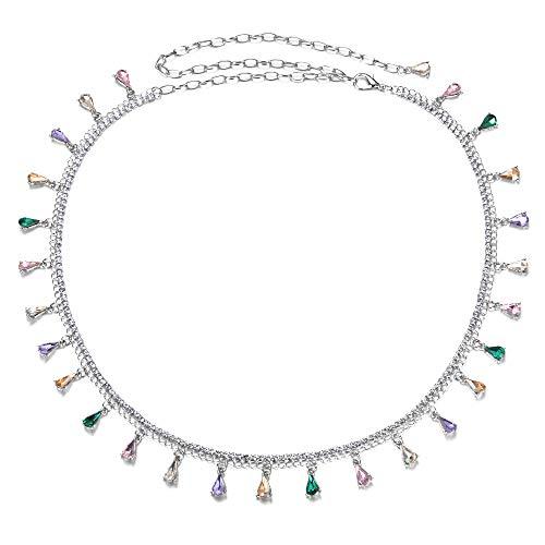 Yishelle Damen-Gürtel Farbe Bauchtanz Taille Ketten Tanz Kostüme Kristall Zubehör Gürtel Für Dress, ()
