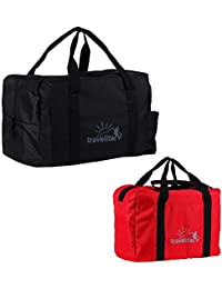 Ultralite Polyster Red & Black Duffle Bag Combo Pack Of 2 (55 L +35 L)