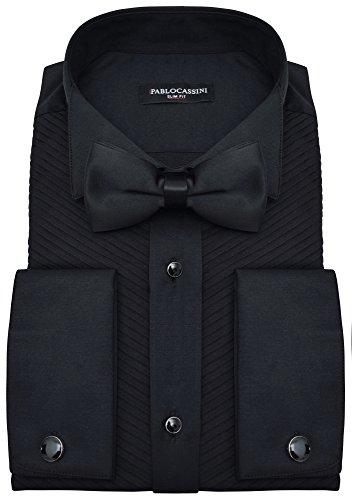 PABLO CASSINI Smokinghemd Slim Fit Schwarz Plissee Biesenfalten mit Manschettenknöpfe und Qualitäts Fliege (L - Kragenweite: 41/42)