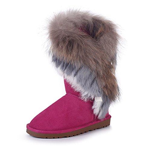 Rismart Damen 2016 High-End Kundenspezifisch Warm Fell Gef眉ttert H盲lfte Schneestiefel Stilvoll Wildleder Winter Stiefel SN2810 Fuchsie