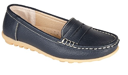 Womens Loafer Shoes Leather Driving Comfortable Flats Summer Deck Size (UK 6, Navy)