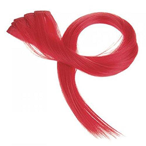 RuiChy Haarverlängerung zum Anklemmen, glatt, 5 Stück, rot (Dickes Gerade Extensions Haar)