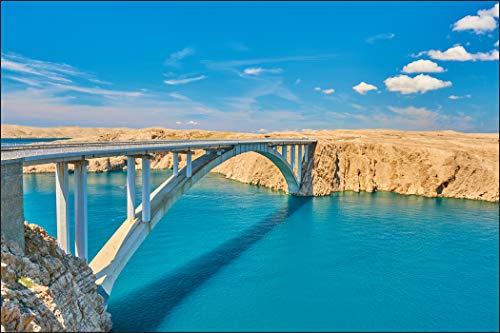 Muralo Fototapete Brücke auf der Insel Pag, Kroatien 240x360 Vlies Entwurf Dekoration Konstruktion - 1484300357