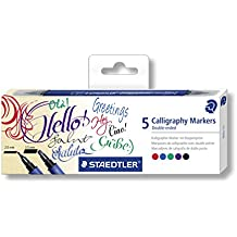 STAEDTLER 3002 C5 Calligraphy Markers - Assorted Colours (Pack of 5)