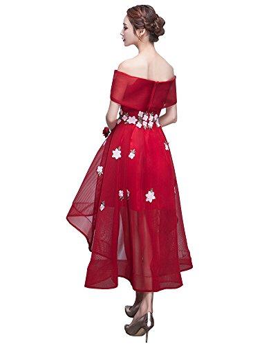 Erosebridal Hohes niedriges Ballkleid Abendkleider Mit Blumen Burgund