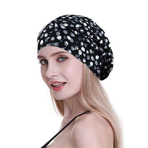 FocusCare Damen satin gefüttert schlaf slouchy cap curly slap kopfbedeckung geschenke für kraus haar eine größe passt meistens yello linie - Genähte Linie